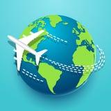 Czas podróżować bada świat z samolotem ilustracja wektor