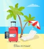 Czas Podróżować nadmorski Plakatową Wektorową ilustrację Zdjęcie Royalty Free