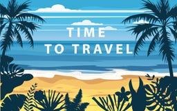 Czas podróżować wakacje letni seascape krajobrazu seascape oceanu morza urlopową plażę, wybrzeże, palma opuszcza Retro, tropikaln royalty ilustracja
