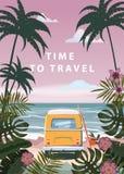 Czas podr??owa? wakacje letni seascape krajobrazu oceanu morza urlopow? pla??, wybrze?e, palma opuszcza Autobusowy surfboard, ret royalty ilustracja