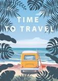 Czas podr??owa? wakacje letni seascape krajobrazu oceanu morza urlopow? pla??, wybrze?e, palma opuszcza Autobusowy surfboard, ret ilustracja wektor