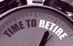 Czas przechodzić na emeryturę zegarową twarz Fotografia Stock