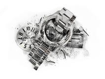 Czas przerwy roztrzaskiwali wristwatch Obraz Royalty Free