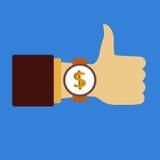 Czas robić pieniądze śpiewać Biznes black tła pojedynczy kciuk, Ręka z zegarem Płaska wektorowa ikona Fotografia Royalty Free