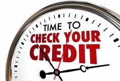 Czas Sprawdzać Twój Kredytowego wynika raportu zegar Zdjęcie Stock