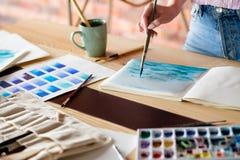 Czas wolny farby hobby rysunku obrazka pomysłowo album zdjęcie stock