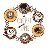 ` czasu ` kawowy zegar dekoruje z filiżankami i kawowymi fasolami ilustracja wektor