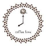 ` czasu ` kawowy zegar dekoruje z kawowymi fasolami royalty ilustracja