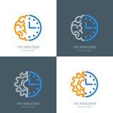 Czasu planowania i zarządzania biznesu pojęcie Wektorowy logo lub ikony ustawiający royalty ilustracja