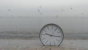 Czasu pojęcia tło, Denni frajery w niebie, zegar w wodzie Na piasek plaży oceanie zdjęcie wideo