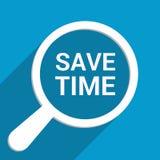 Czasu pojęcie: Powiększający Okulistycznego szkło Z słowami Save czas royalty ilustracja