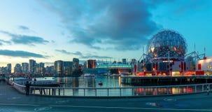 Czasu upływ Fałszywy zatoczki i Vancouver linia horyzontu wliczając światu nauki kopuła, zdjęcie wideo