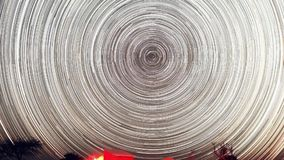 Czasu upływ gwiaździsta noc z cieniem drzewo w przedpolu z gwiazdowym śladu skutkiem i zbiory wideo