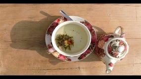 Czasu upływ Kwiatonośna herbata zbiory wideo