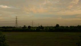 Czasu upływu chodzenia chmur ryż pole zbiory wideo