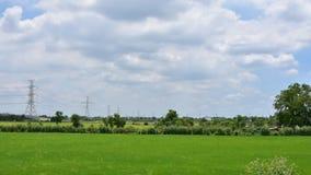 Czasu upływu chodzenia chmur ryż samochód w autostradzie na niebieskim niebie i pole zbiory wideo