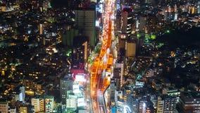 Czasu up?yw ?adny Wielkomiejska autostrada 3 Shibuya miasto przy noc? w Tokio i linia, Japonia zbiory