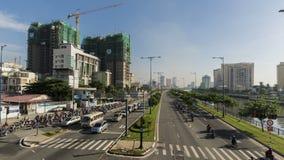 Czasu upływu Ho Chi Minh miasta ruch drogowy w Vo Van Kiet autostradzie zbiory wideo