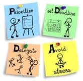 Czasu zarządzania pojęcia ilustracja na kolorowe notatki Zdjęcie Royalty Free