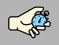 Czasu zarządzanie, ręka z zegarem, stopwatch pojęcie kreskowa wektorowa ikona Płaska liniowa ilustracja odizolowywająca na popiel Zdjęcia Stock