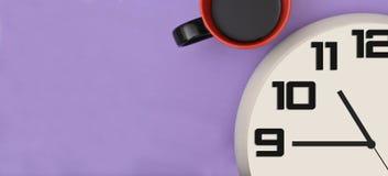 Czasu zegar z Kawowym sztandaru szablonem Obraz Stock