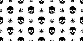 Czaszek Crossbones marihuany świrzepy marihuany pirata kości ducha jadu bezszwowy deseniowy Halloweenowy szalik odizolowywał powt royalty ilustracja