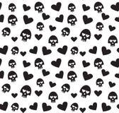 Czaszek i serc bezszwowy wzór na białym tle Obrazy Royalty Free