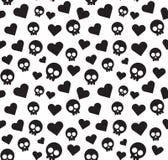 Czaszek i serc bezszwowy wzór na białym tle Fotografia Royalty Free