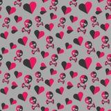 Czaszek i serc bezszwowy wzór na szarym tle Zdjęcia Royalty Free