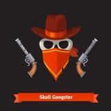 Czaszka gangster w Stetson kapeluszu z rewolwerowymi pistoletami royalty ilustracja
