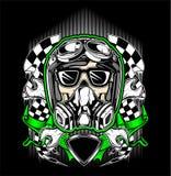 Czaszka hełm ściga się z benzynową maską ilustracji