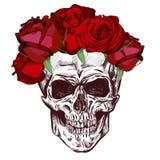 Czaszka i róże Nakreślenie Z gradacja skutkiem wektor Zdjęcia Royalty Free