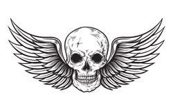 Czaszka i skrzydła w rytownictwo stylu ilustracji