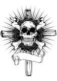 Czaszka krzyż royalty ilustracja