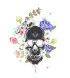 czaszka Meksykański dzień śmierć Kwiaty i rośliny na obrazu tle Mógł używać dla koszulka druku, karty ilustracja wektor