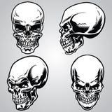 czaszka obłoczni retro ustaleni paski ilustracji