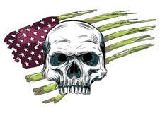 Czaszka projekt z barwioną flagi amerykańskiej ilustracją ilustracja wektor