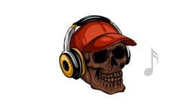 Czaszka słucha muzyka z hełmofonami royalty ilustracja