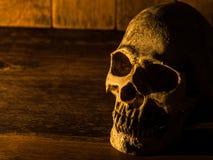 Czaszka umieszcza na drewnianym stole Tło jest drewnianym światłem od świeczki i talerzem czaszka Zdjęcia Stock