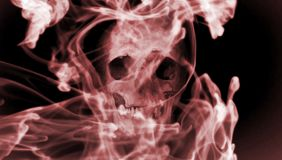 Czaszka w dym Cyfrowej ilustracyjna sztuka Fotografia Stock
