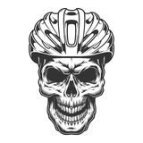 Czaszka w rowerowym hełmie ilustracji