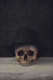 Czaszka z Fedora kapeluszem Zdjęcia Stock