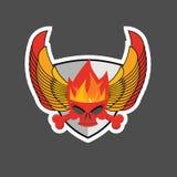 Czaszka z płomieniami na skrzydłach i osłonie heraldyka ilustracja wektor