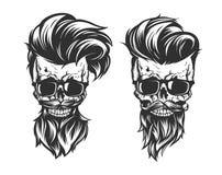 Czaszka z włosianą brodą i wąsy ilustracji