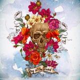 Czaszki i kwiatów dzień nieboszczyk Obraz Stock