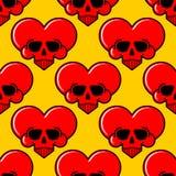Czaszki miłości serca wzór bezszwowy Śmiertelny Amur tło Wektorowa tekstura royalty ilustracja