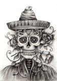 Czaszki sztuka Ręka rysunek na papierze Fotografia Royalty Free