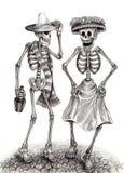 Czaszki sztuki dzień nieboszczyk Ręka rysunek na papierze Fotografia Royalty Free
