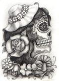 Czaszki sztuki dzień nieboszczyk Ręka rysunek na papierze Obrazy Royalty Free