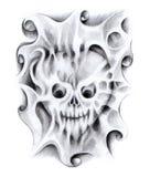 Czaszki sztuki kierowy tatuaż Fotografia Stock